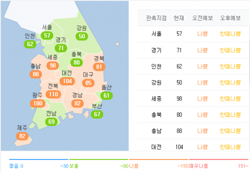 2017년 12월 31일 오후 2시 40분 기준 전국 미세먼지 농도. - 네이버 제공